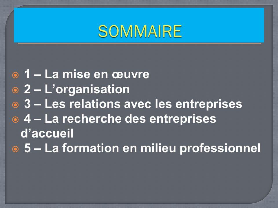SOMMAIRE 1 – La mise en œuvre 2 – L'organisation