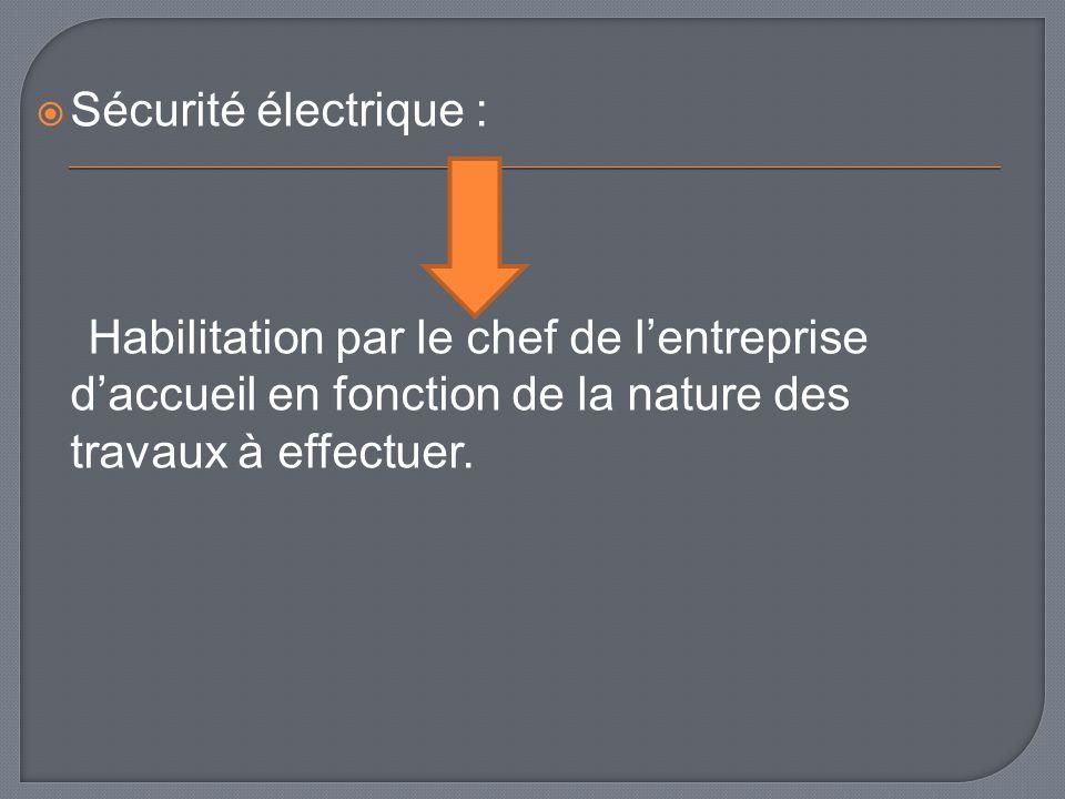 Sécurité électrique : Habilitation par le chef de l'entreprise d'accueil en fonction de la nature des travaux à effectuer.