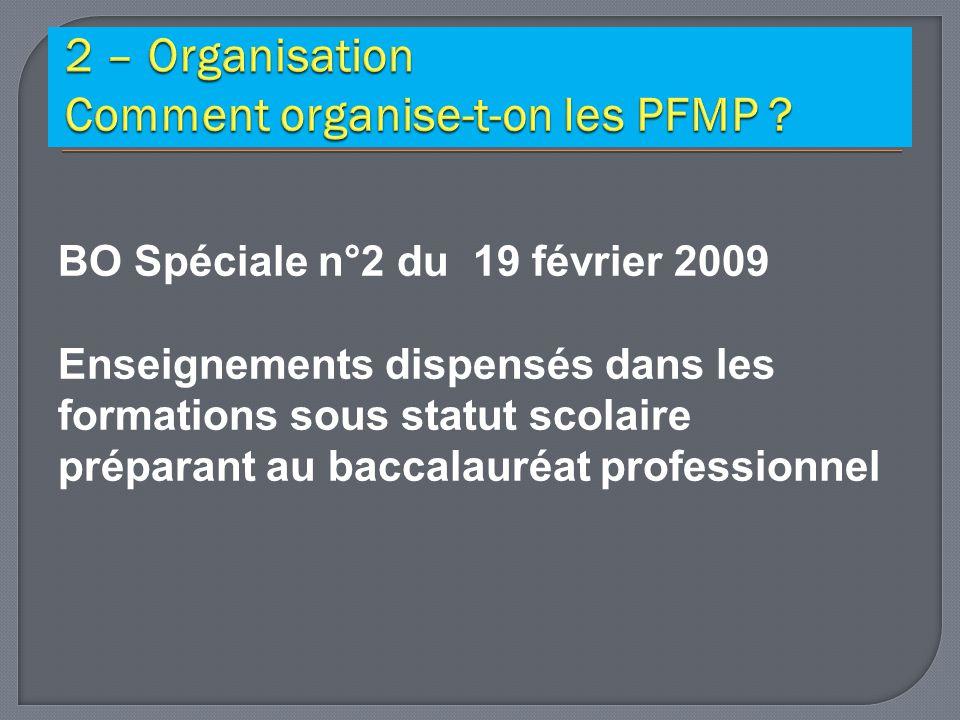 2 – Organisation Comment organise-t-on les PFMP