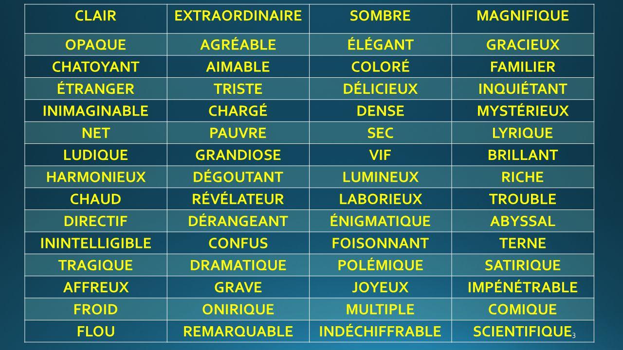 CLAIR EXTRAORDINAIRE SOMBRE MAGNIFIQUE OPAQUE AGRÉABLE ÉLÉGANT