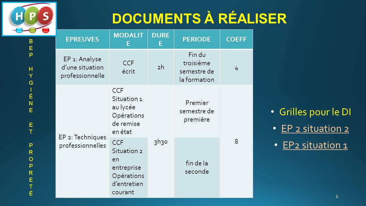 Documents à réaliser Grilles pour le DI EP 2 situation 2