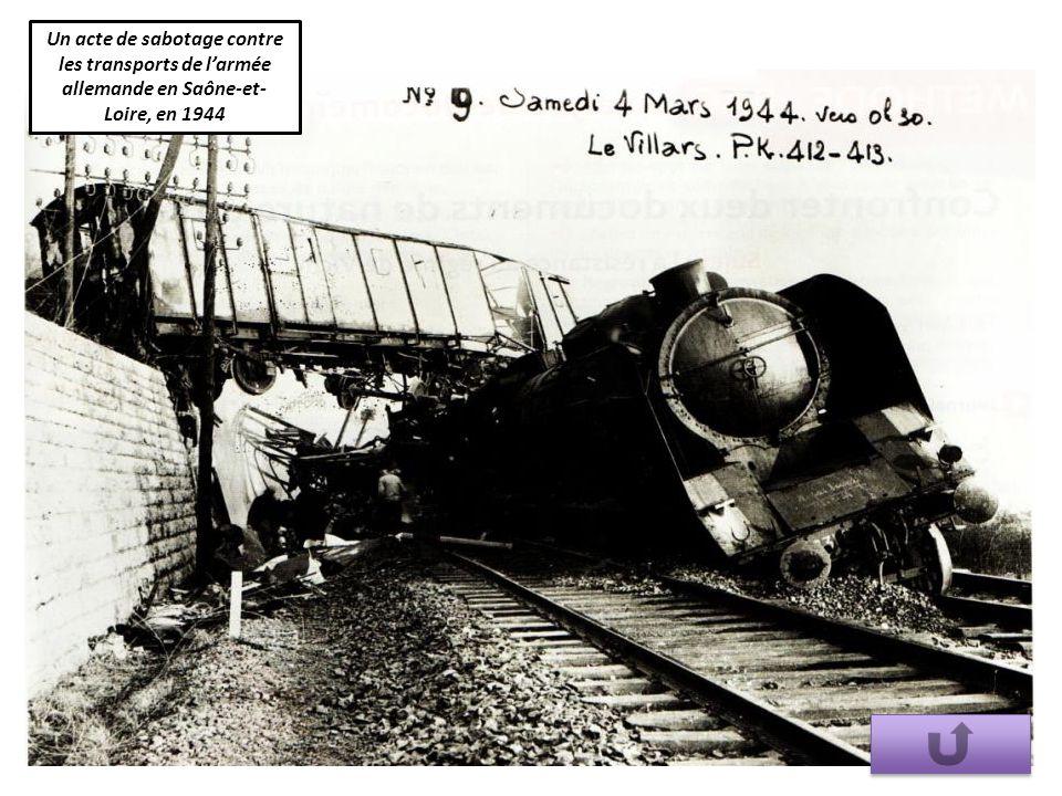 Un acte de sabotage contre les transports de l'armée allemande en Saône-et-Loire, en 1944