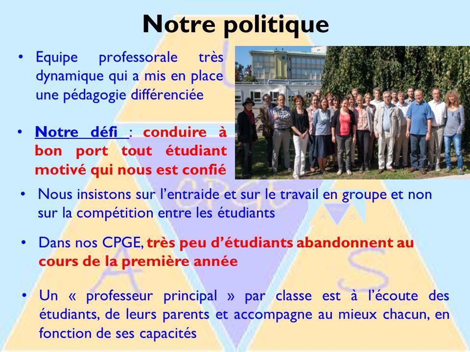 Notre politique Equipe professorale très dynamique qui a mis en place une pédagogie différenciée.
