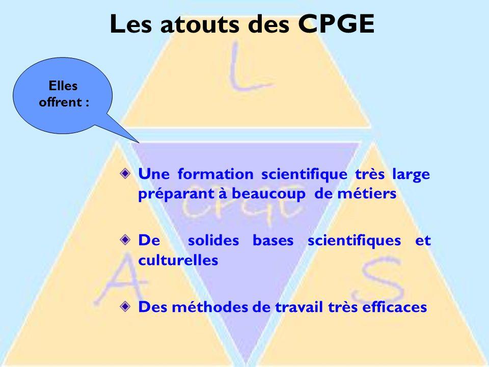 Les atouts des CPGE Elles offrent : Une formation scientifique très large préparant à beaucoup de métiers.