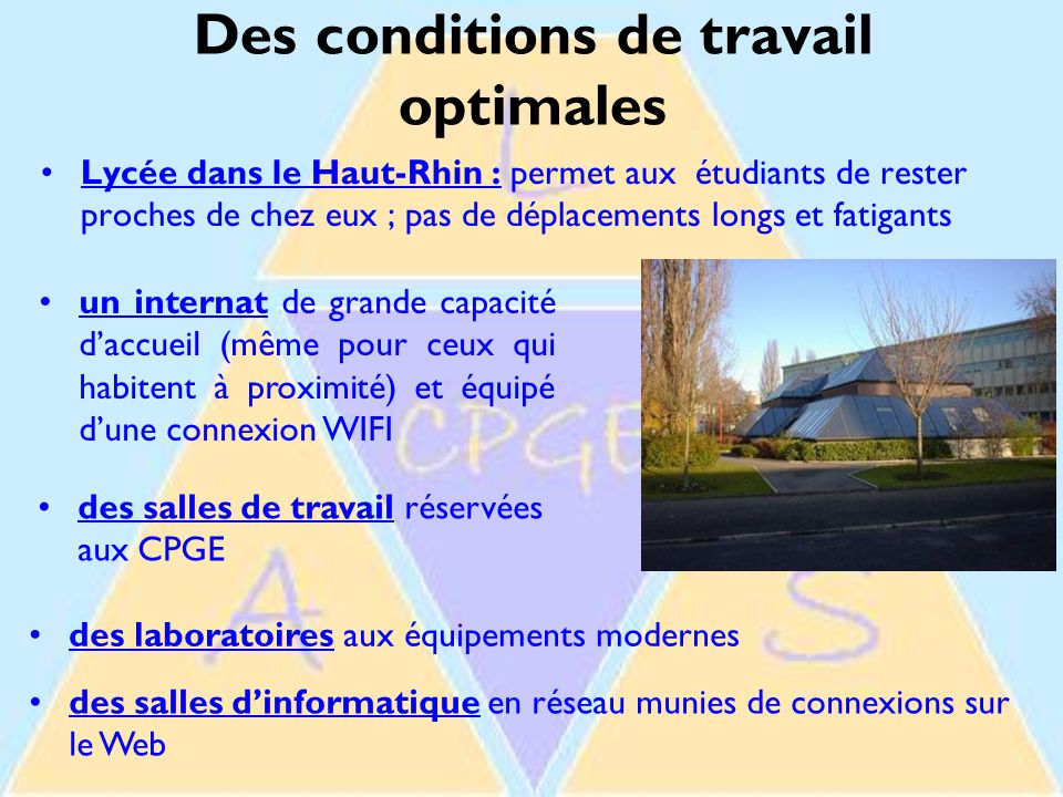 Des conditions de travail optimales