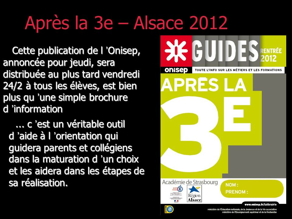 Après la 3e – Alsace 2012