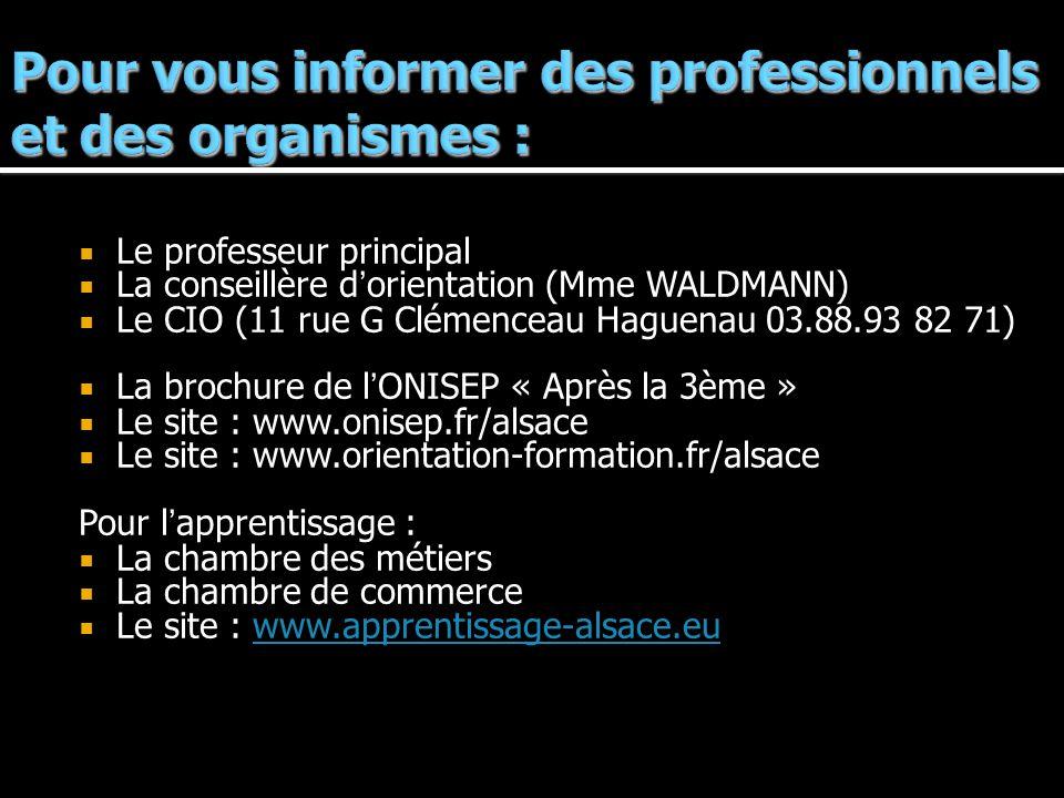 Pour vous informer des professionnels et des organismes :