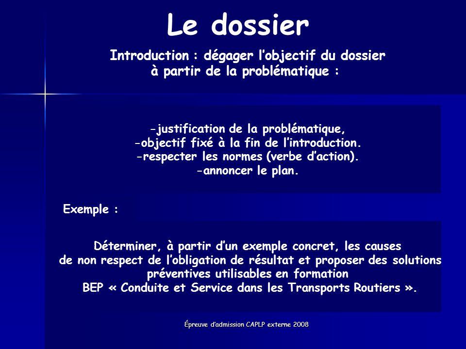 Le dossier Introduction : dégager l'objectif du dossier