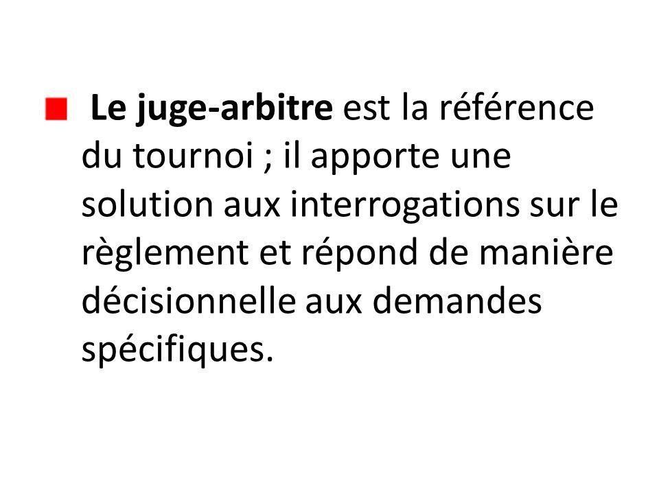 Le juge-arbitre est la référence du tournoi ; il apporte une solution aux interrogations sur le règlement et répond de manière décisionnelle aux demandes spécifiques.