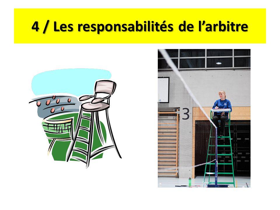 4 / Les responsabilités de l'arbitre