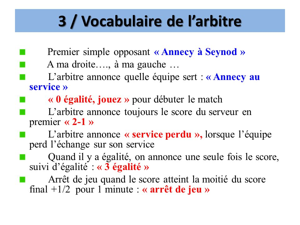 3 / Vocabulaire de l'arbitre