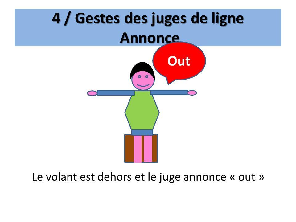 4 / Gestes des juges de ligne Annonce