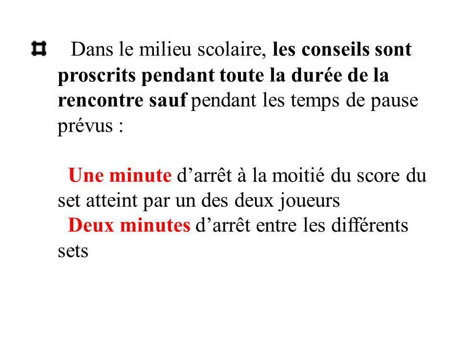 Dans le milieu scolaire, les conseils sont proscrits pendant toute la durée de la rencontre sauf pendant les temps de pause prévus : Une minute d'arrêt à la moitié du score du set atteint par un des deux joueurs Deux minutes d'arrêt entre les différents sets