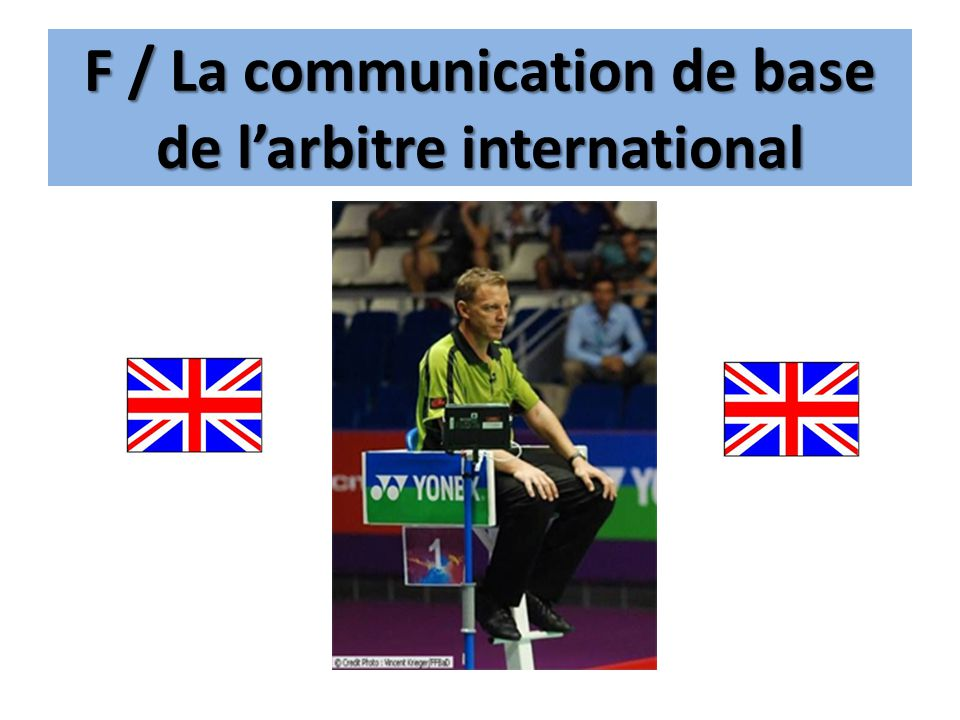 F / La communication de base de l'arbitre international