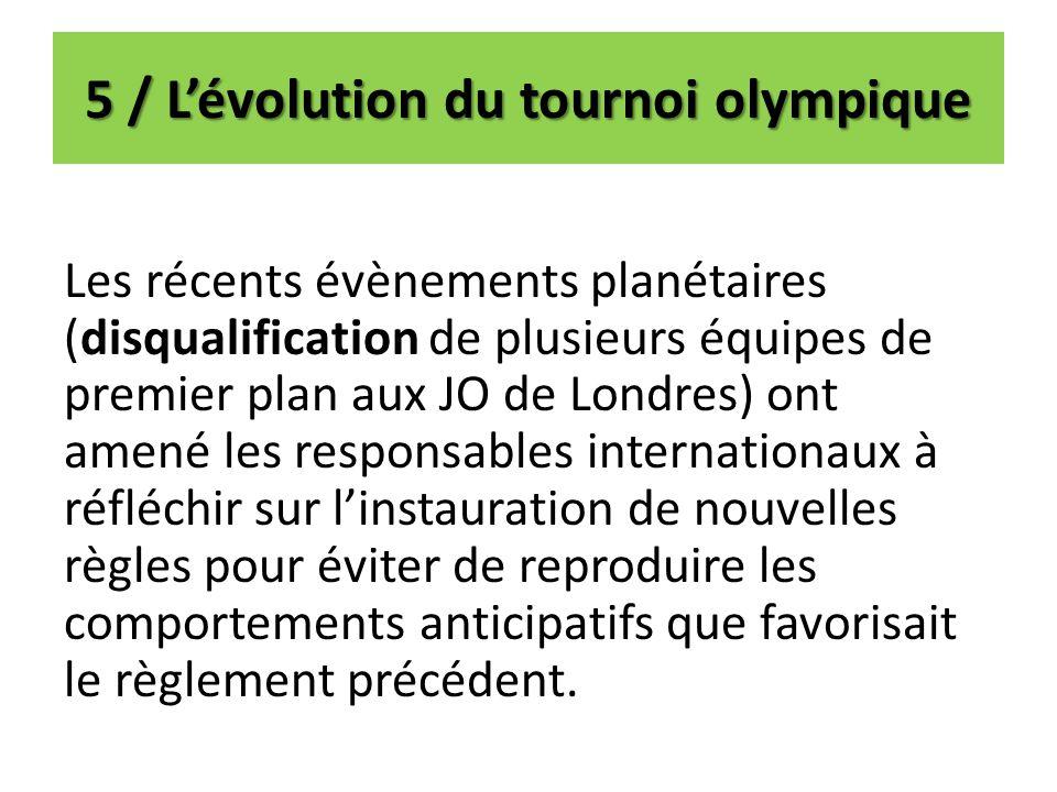 5 / L'évolution du tournoi olympique