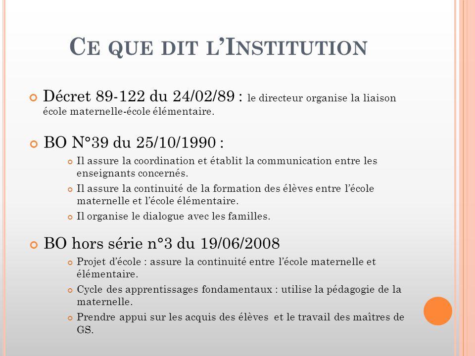 Ce que dit l'Institution
