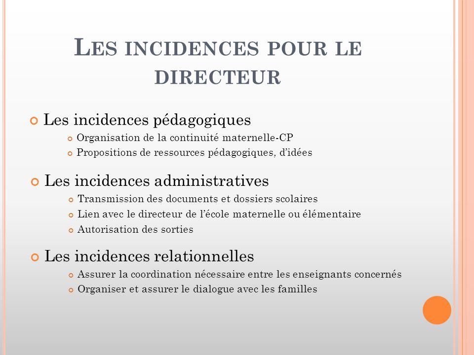 Les incidences pour le directeur