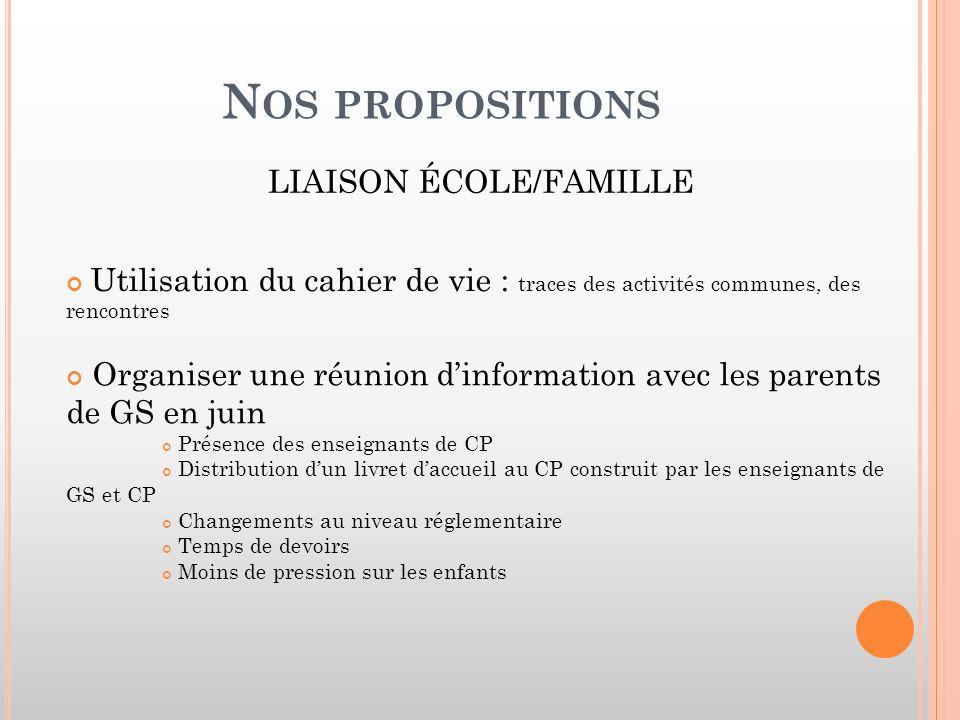 LIAISON ÉCOLE/FAMILLE