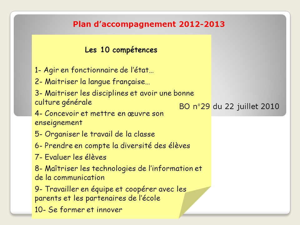 Plan d'accompagnement 2012-2013