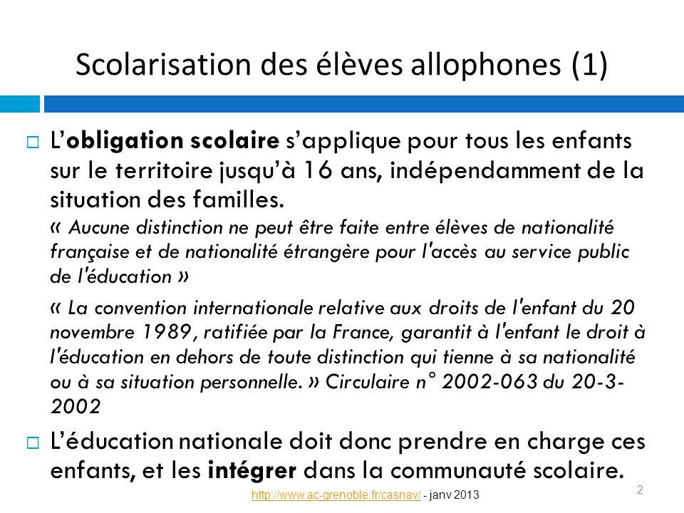 Scolarisation des élèves allophones (1)