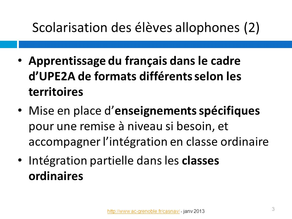 Scolarisation des élèves allophones (2)