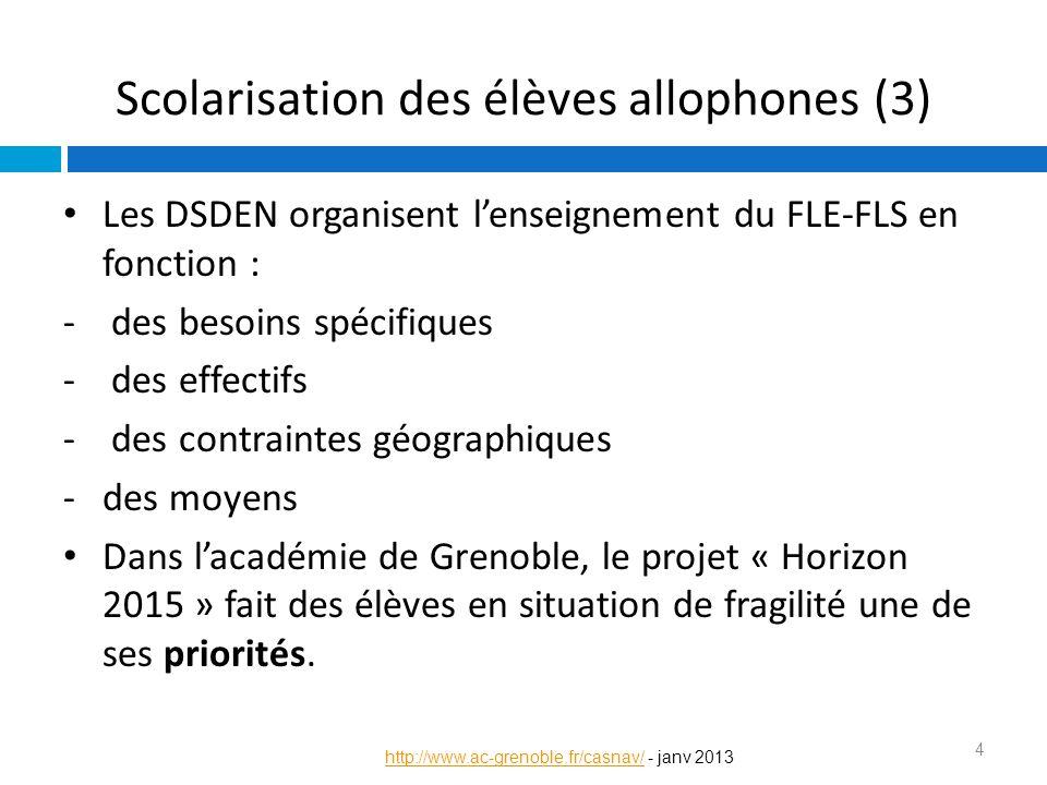 Scolarisation des élèves allophones (3)