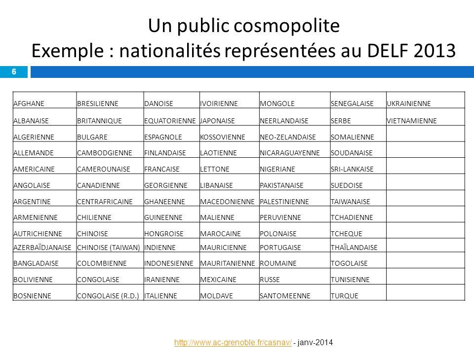 Un public cosmopolite Exemple : nationalités représentées au DELF 2013