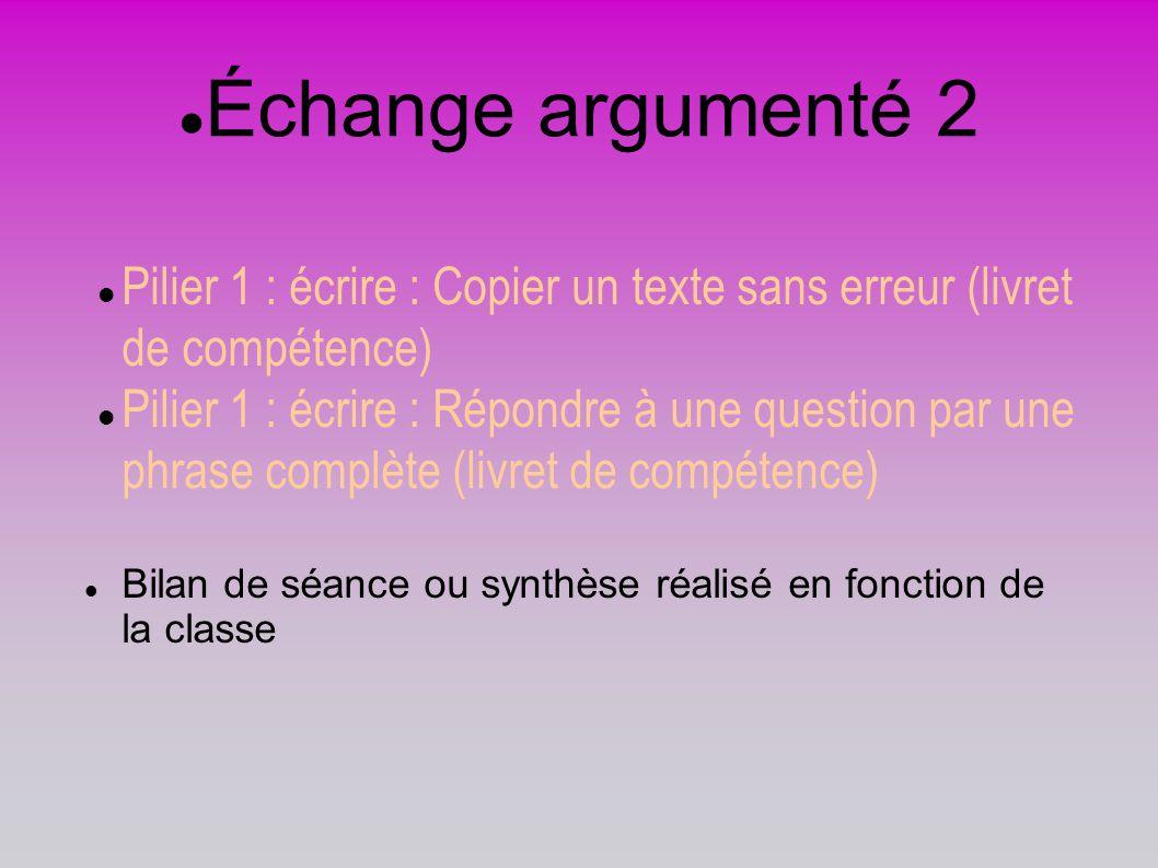 Échange argumenté 2 Pilier 1 : écrire : Copier un texte sans erreur (livret de compétence)