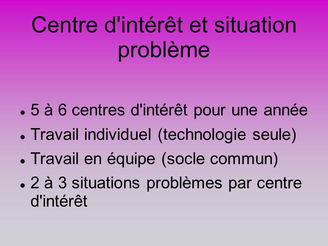 Centre d intérêt et situation problème