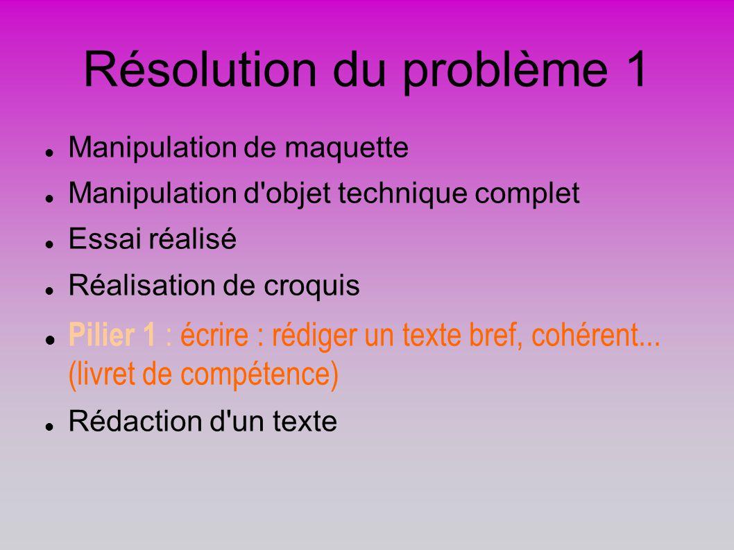 Résolution du problème 1