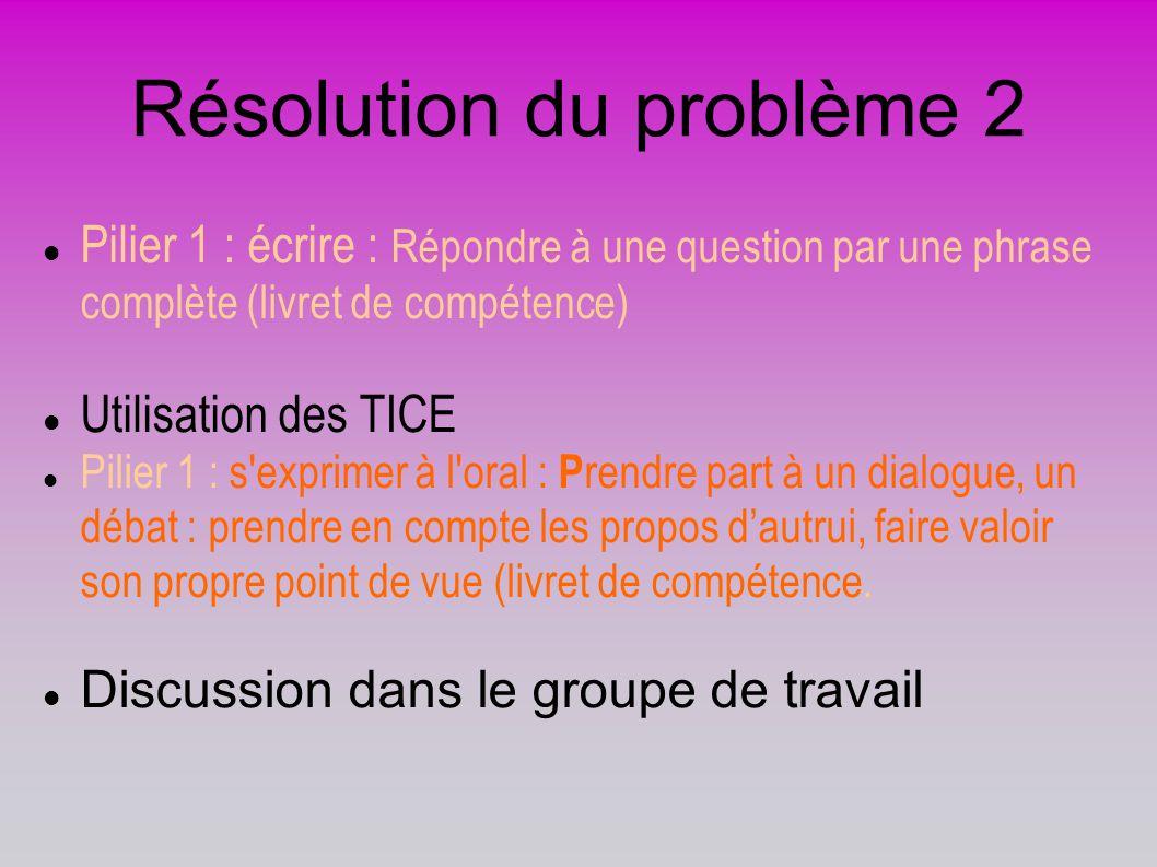 Résolution du problème 2