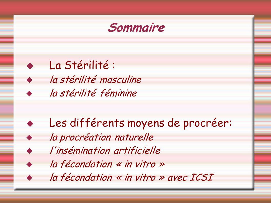 Sommaire La Stérilité : Les différents moyens de procréer: