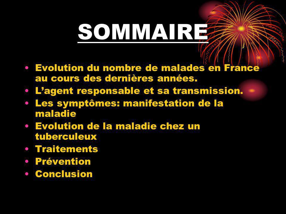 SOMMAIRE Evolution du nombre de malades en France au cours des dernières années. L'agent responsable et sa transmission.