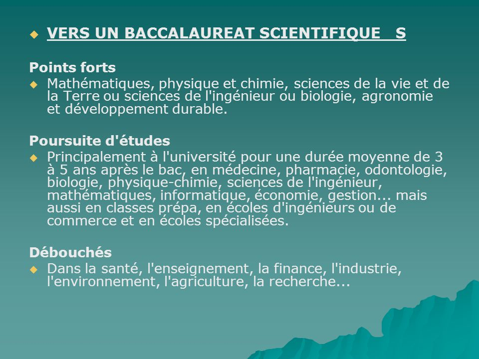 VERS UN BACCALAUREAT SCIENTIFIQUE S