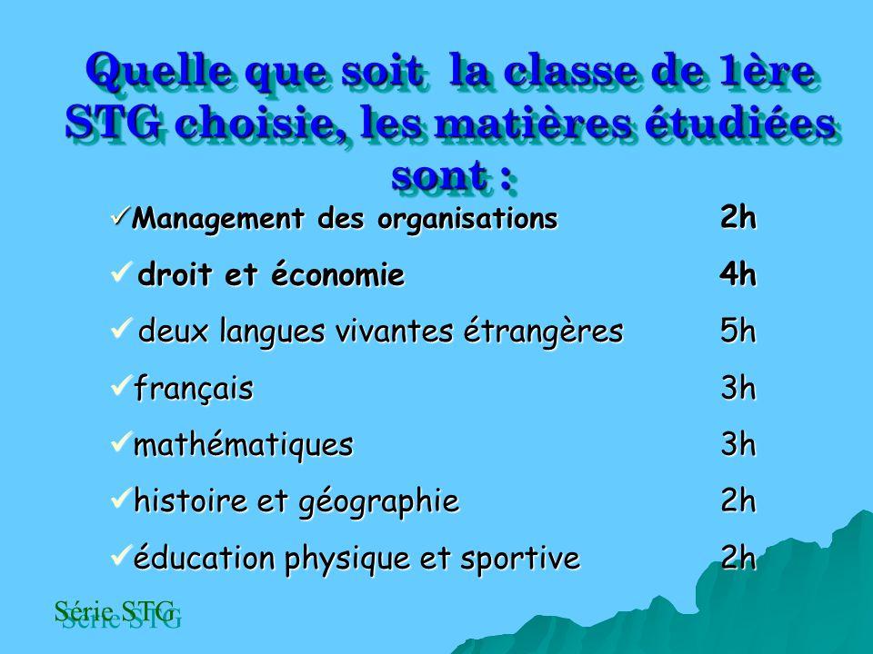 Quelle que soit la classe de 1ère STG choisie, les matières étudiées sont :