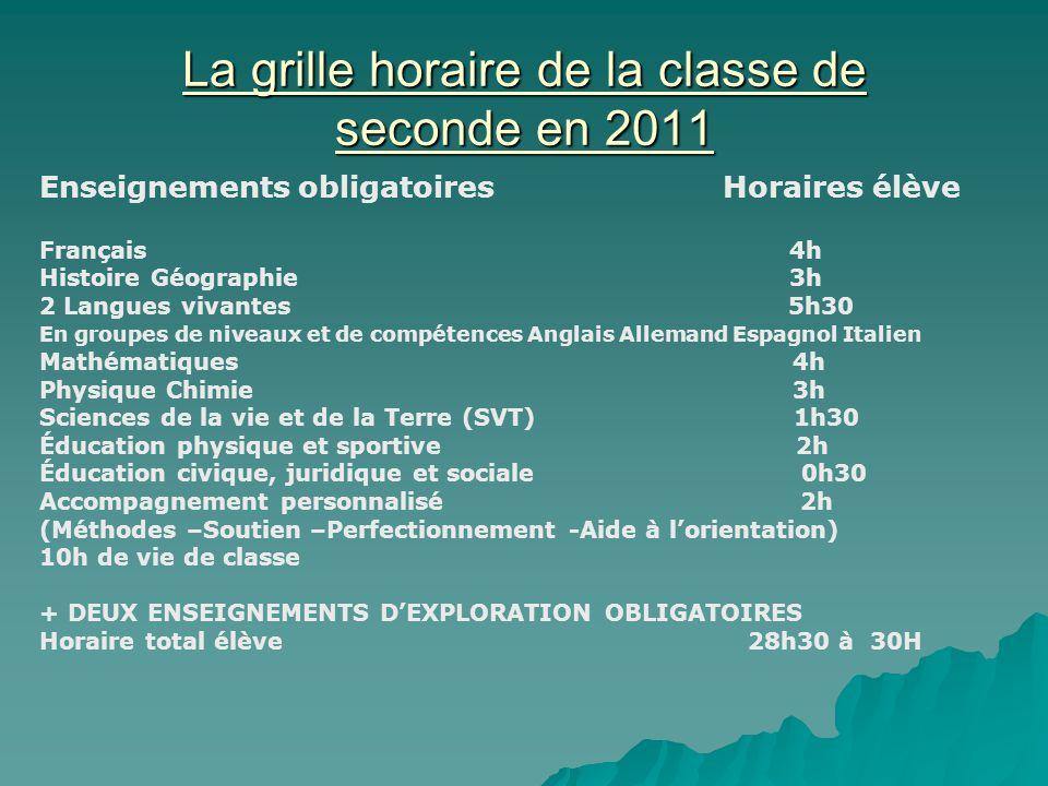 La grille horaire de la classe de seconde en 2011