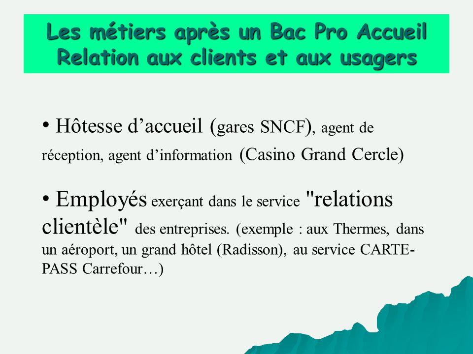 Les métiers après un Bac Pro Accueil Relation aux clients et aux usagers