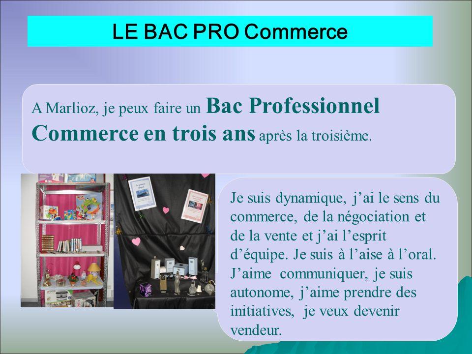 LE BAC PRO Commerce A Marlioz, je peux faire un Bac Professionnel Commerce en trois ans après la troisième.