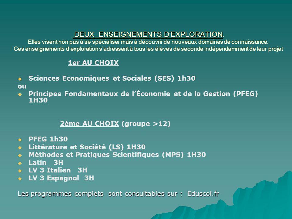 Sciences Economiques et Sociales (SES) 1h30 ou