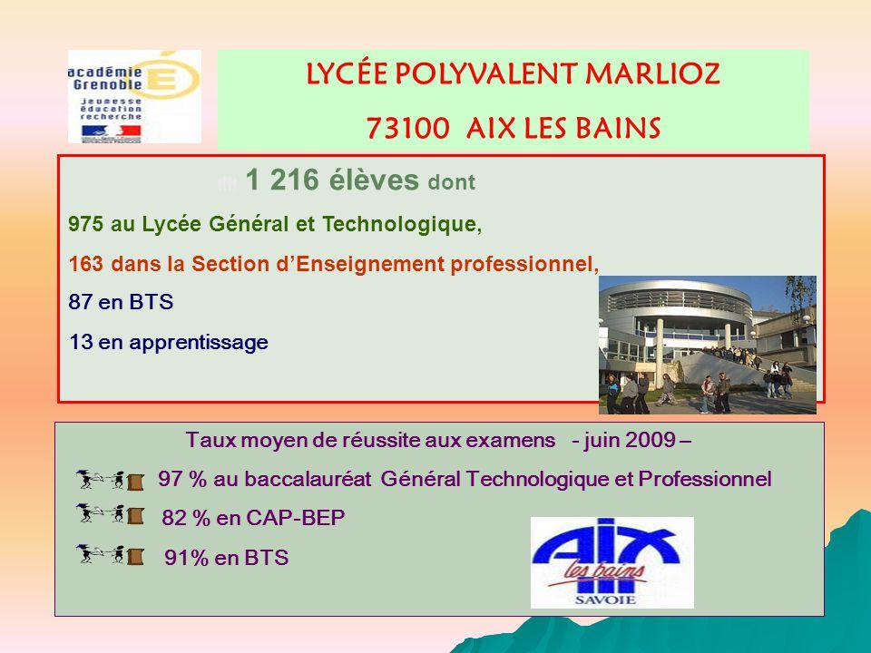  1 216 élèves dont LYCÉE POLYVALENT MARLIOZ 73100 AIX LES BAINS