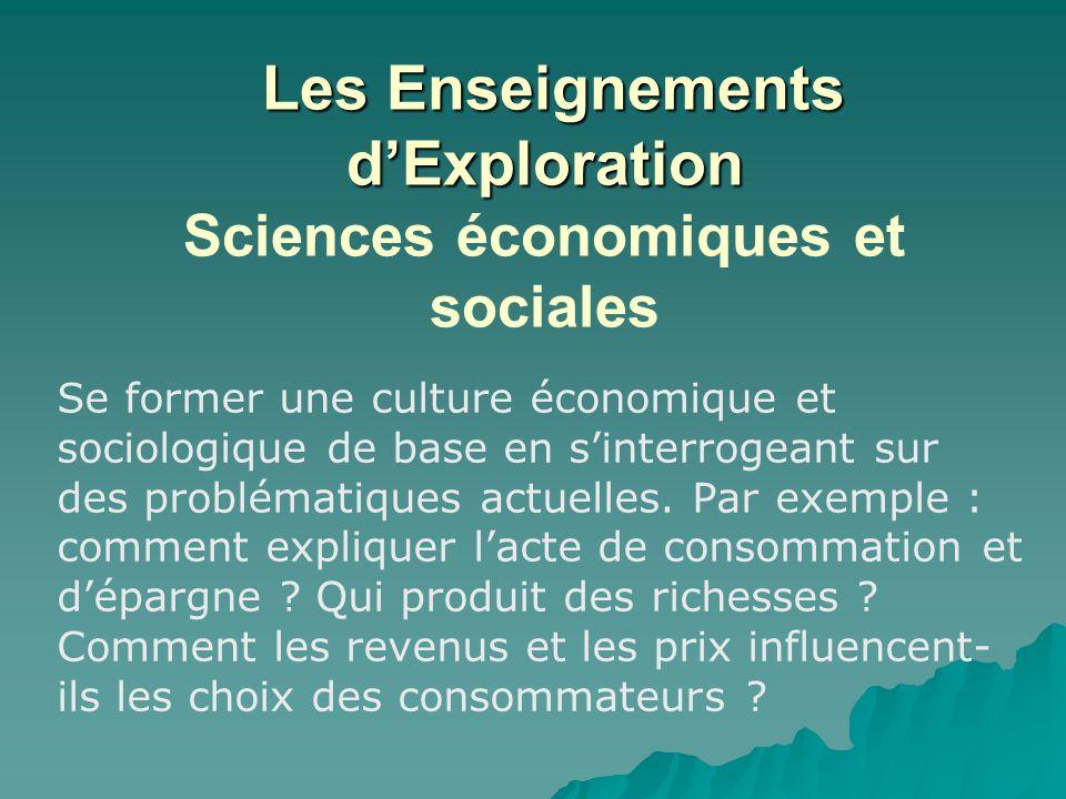 Les Enseignements d'Exploration Sciences économiques et sociales