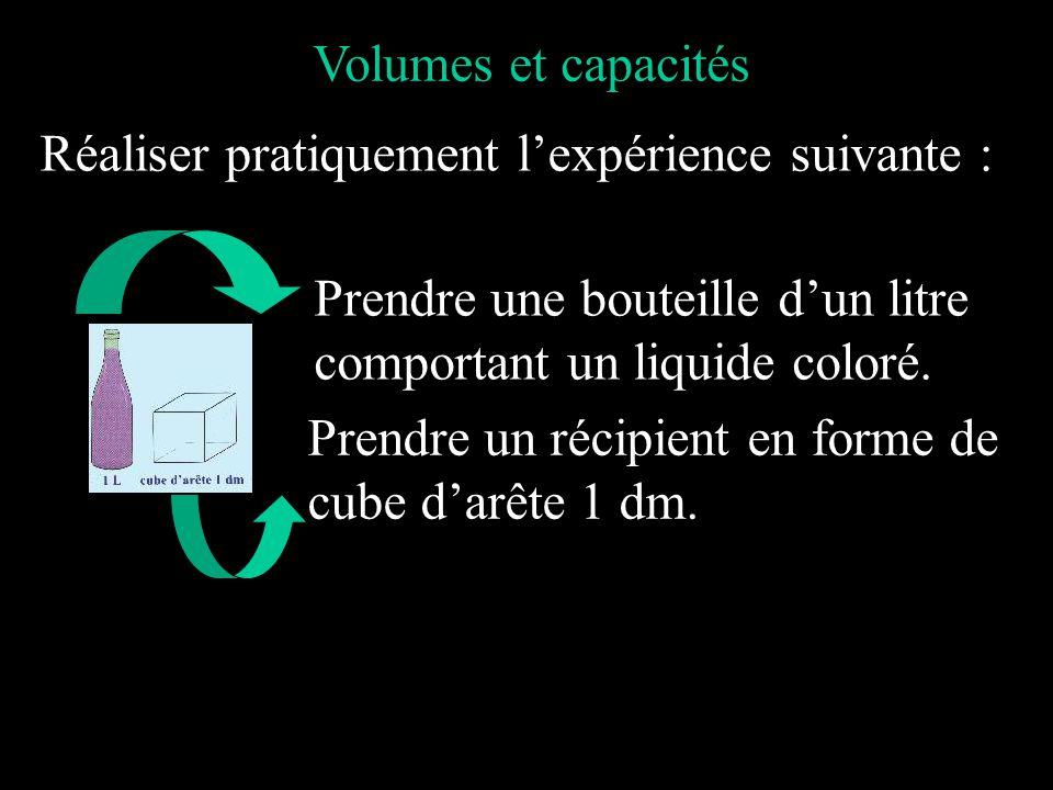 Volumes et capacités Réaliser pratiquement l'expérience suivante : Prendre une bouteille d'un litre.