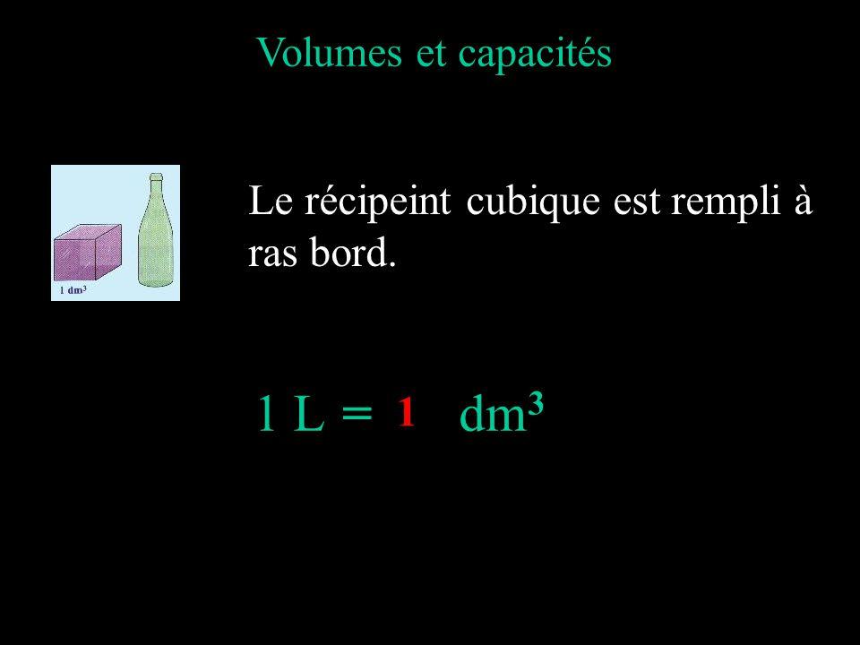 = dm3 Volumes et capacités Le récipeint cubique est rempli à