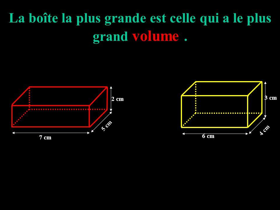 La boîte la plus grande est celle qui a le plus grand volume .