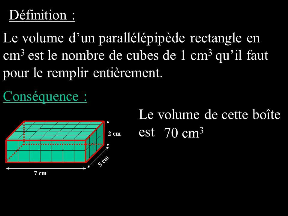 Le volume de cette boîte est 70 cm3