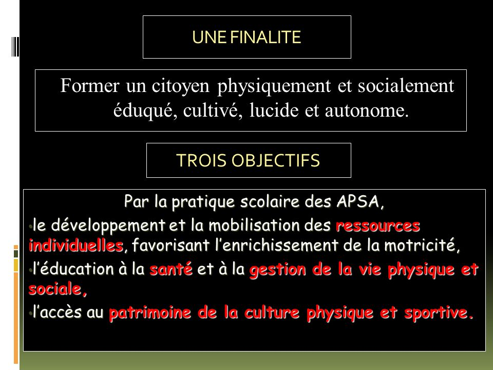 Par la pratique scolaire des APSA,