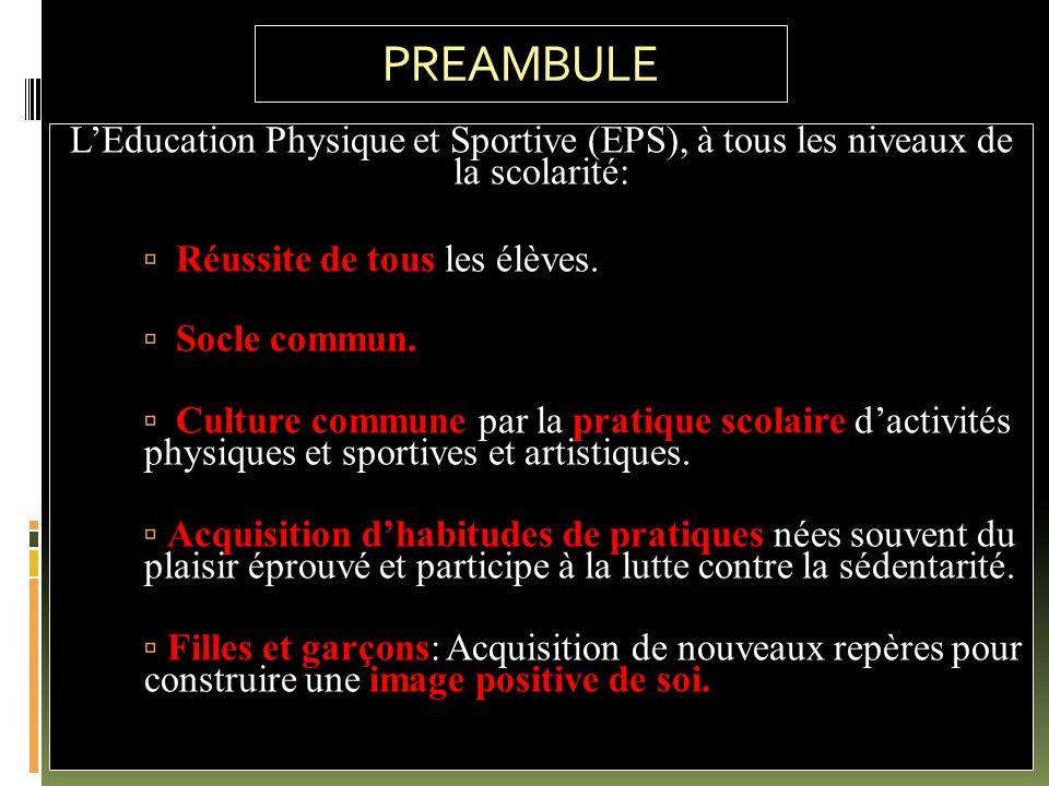 PREAMBULE L'Education Physique et Sportive (EPS), à tous les niveaux de la scolarité: Réussite de tous les élèves.