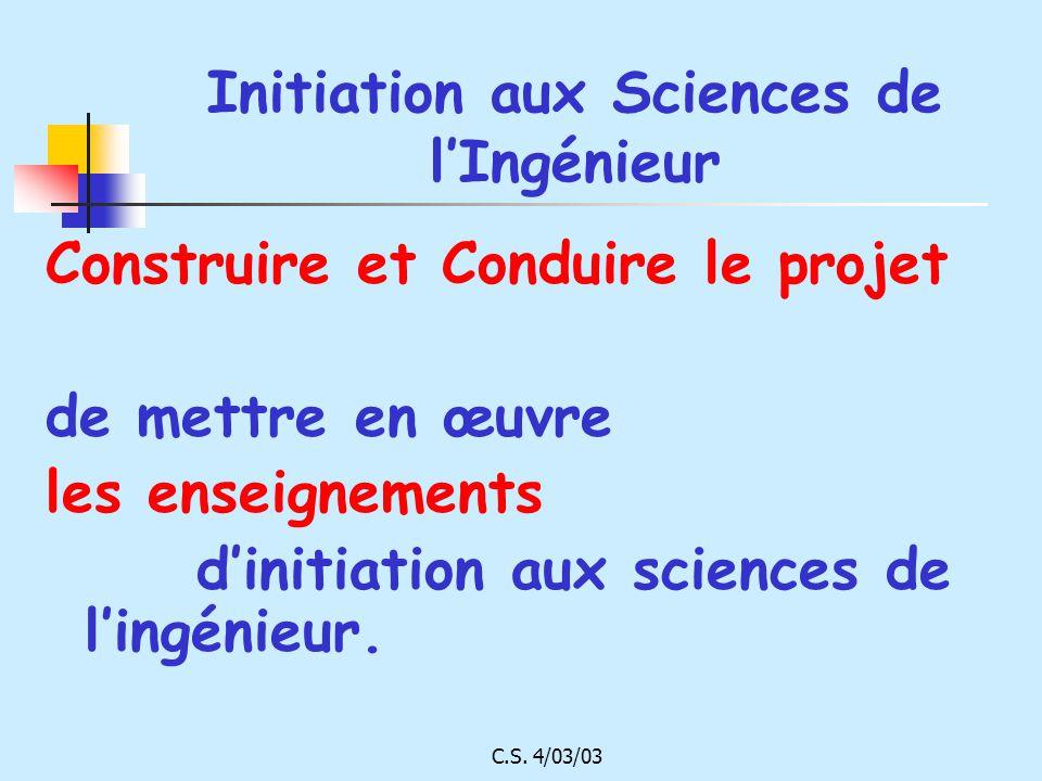 Initiation aux Sciences de l'Ingénieur