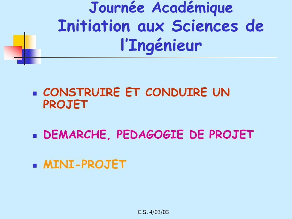 Journée Académique Initiation aux Sciences de l'Ingénieur