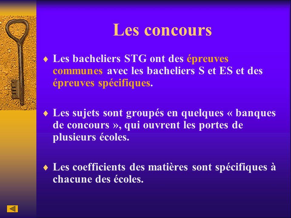 Les concours Les bacheliers STG ont des épreuves communes avec les bacheliers S et ES et des épreuves spécifiques.